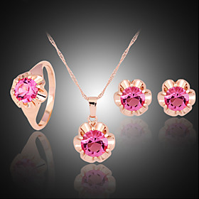 Crystal Jewelry Set - Zircon, Cubic Zirconia, Rose Gold Plated Party, Fashion, Colorful Include Fuchsia For Party Special Occasion Anniversary / Imitation Diam
