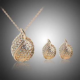 Women's Crystal Jewelry Set - Crystal, Rhinestone, Silver Plated Heart Statement, Bridal Include Stud Earrings Pendant Necklace Silver / Golden For Wedding Par