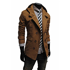Men's Daily Simple / Casual / Fashion Spring   Fall Coat, Solid Colored Hooded Long Sleeve Cotton / Polyester Black / Brown / Khaki L / XL / XXL