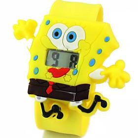Children's Cute Cartoon Silicone Ultraman Spongebob Pattern   Lovely Digital Calendar Water Resistant  Slap Watch Cool Watches Unique Watches 3936238
