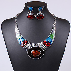 Women's Crystal Jewelry Set - Crystal, Cubic Zirconia Statement, Unique Design, Vintage Include Drop Earrings Pendant Necklace Green / Blue / Rainbow For Party