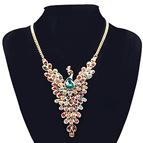 Women's Synthetic Diamond Pendant Necklace / Statement Necklace - Rhinestone Peacock Dainty, Statement, European Screen Color Necklace Jewelry For