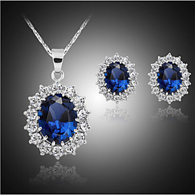 Synthetic Sapphire Jewelry Set - Cubic Zirconia, Silver Plated, Imitation Diamond Luxury, Party, Plaited Include Blue For Party Birthday Engagement / Earrings