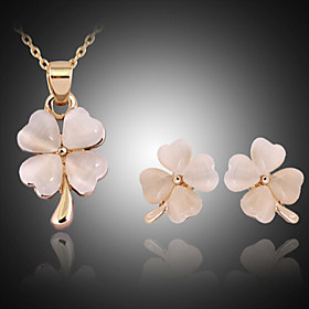 Crystal Jewelry Set Cubic Zirconia, Opal, Rose Gold Plated Cross, Clover Ladies, Party, Fashion Include Gold For Party Special Occasion Anniversary Birthday En