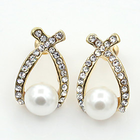 Women's Crystal Stud Earrings - 18K Gold Plated, Pearl, Imitation Pearl European, Fashion Gold For / Imitation Diamond / Rhinestone / Austria Crystal