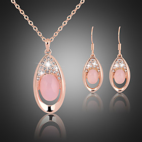 Crystal Jewelry Set Cubic Zirconia, Rose Gold Plated Ladies, Party, Fashion Include Pink For Wedding Party Special Occasion Anniversary Birthday Engagement / E
