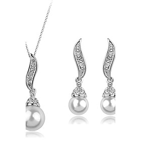 Pearl Jewelry Set Pearl, Cubic Zirconia, Imitation Diamond Angel Wings Ladies, Luxury, Party, Fashion Include Gold / Silver For Party Special Occasion Annivers