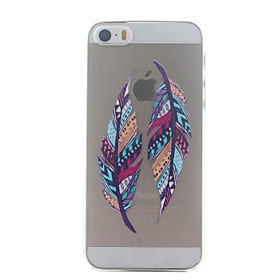 For iPhone 5 Case Transparent / Pattern Case Back Cover Case Feathers Hard PC iPhone SE/5s/5 3830494