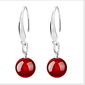 Women's Agate Drop Earrings - Sterling Silver Black / Red For Wedding Party Daily