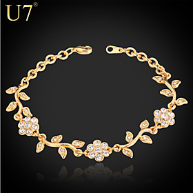 Women's Synthetic Diamond Bracelet - Rhinestone, Imitation Diamond Flower Charm, Vintage, Party Bracelet Gold / Silver For Daily