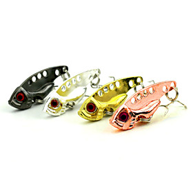 "4 pcs Hard Bait Metal Bait Vibration/VIB Fishing Lures Vibration/VIB Metal Bait Spoons Black Pink Gold Silver g/Ounce,40mm mm/1-5/8"""" inch,"" 4086148"