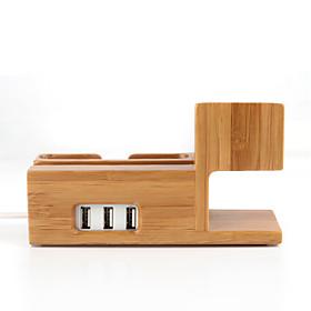 3 em 1 de bambu de madeira de carregamento suporte de suporte de suporte de estação de encaixe com saída USB para iWatch iphone 4214175