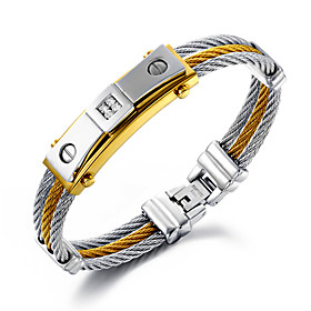Men's Layered Chain Bracelet 18K Gold Plated Stainless Steel Gold Plated Personalized Luxury Hip-Hop Multi Layer Bracelet Jewelry Gold / Silver For Christmas G