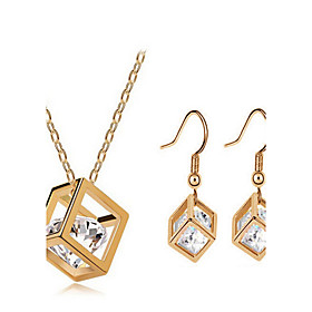 Synthetic Diamond Jewelry Set Zircon, Cubic Zirconia Dainty, Ladies, Luxury, Party, Work, Casual Include Gold For / Earrings / Necklace