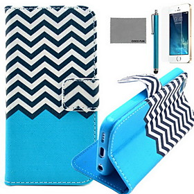 COCO FUN Black White Wave Pattern PU Leather Case with Screen Protector and USB Cable and Stylus for iPhone 5/5S deal 2016