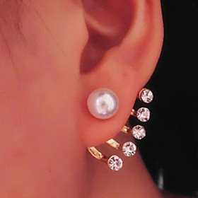 Women's Pearl Drop Earrings Pearl Imitation Pearl Rhinestone Earrings Ladies Classic Jewelry For Daily Casual / Imitation Diamond
