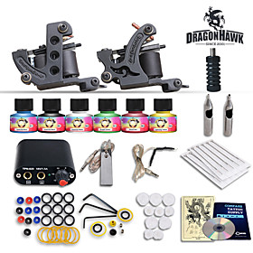 Complete Tattoo Kit 2 Machines Gun 6 Color Inks Power Supply Needles Set 4237403