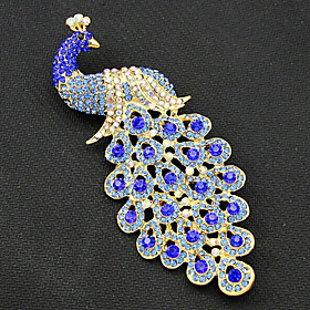 Women's Brooches Gold Plated Peacock Vintage Fashion Brooch Jewelry Royal Blue For Party Special Occasion