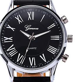 Fashion Roman Dial Mens Elegant Leather Black Analog Quartz Wrist Watch Cool Watch Unique Watch 4291228