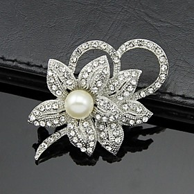 Women's Brooches Pearl Crystal Cubic Zirconia Flower Ladies Party Work Fashion Brooch Jewelry White For Wedding Party Special Occasion Anniversary Birthday Mas