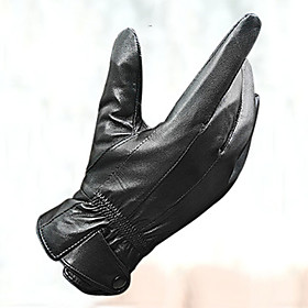 Men's Outdoor Sports Motorcycle Cycling Black Leather Full Fingers Warm Gloves 4299221