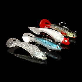 4pcs Silicone Soft Fishing Lure and Fishing Bite with Hook (Random color) 4375418