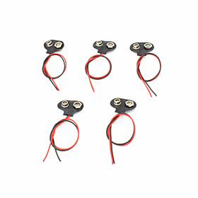 T-Style Plastic  Stainless Steel 9V Battery Buckles w/ Leads - Black (5 PCS) 4226341