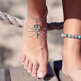 Women's Anklet/Bracelet Turquoise Unique Design Fashion Vintage Sexy Bikini Multi Layer Drop Jewelry Jewelry For Party Birthday Gift Beach 4358568