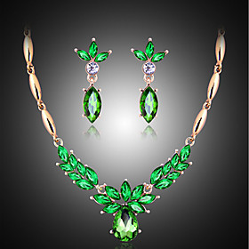 Pearl Jewelry Set Cubic Zirconia Ladies, Vintage, Party, Fashion Include Emerald For Wedding Party Special Occasion Anniversary Birthday Engagement / Earrings