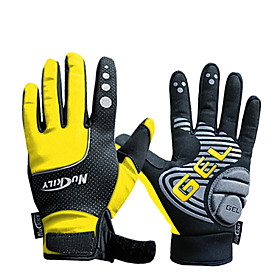 NUCKILY Waterproof Windproof Slide-Proof Thermal Yellow Cycling Gloves 1637550
