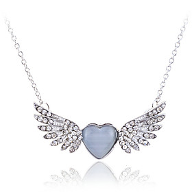 Women's Crystal Pendant Necklace Statement Necklace Crystal Opal Imitation Diamond Wings Luxury Fashion Silver Golden Necklace Jewelry For Party Daily Casual