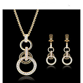 Jewelry Set 18K Gold Plated, Cubic Zirconia Ladies, Vintage, Party, Work, European Include Gold For Wedding Masquerade Engagement Party Prom Promise / Earrings