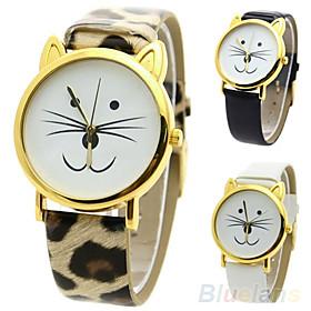 Women's Quartz Wrist Watch Hot Sale PU Band Casual Leopard Cartoon Fashion Black White Red Brown 4460751