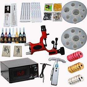 Red Dragonfly Tattoo Machine Kits Power Supply/ Rotary / 20 Needles/ 8 Tips/ 7 Inks Professional Supply 4447978
