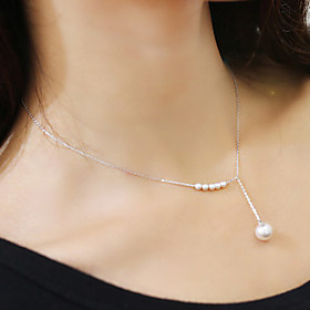 Women's Pearl Lariat Choker Necklace / Pearl Necklace - Pearl, Imitation Pearl Silver, Golden Necklace Jewelry For Wedding, Party, Daily