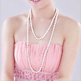 Women's Strands Necklace / Y Necklace / Pearl Necklace - Pearl, Imitation Pearl Flower Fashion White Necklace Jewelry For Wedding, Party, Party / Evening / Dai