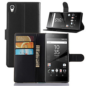 DE JI Case For Sony Xperia Z5 / Sony Xperia M4 Aqua / Sony Xperia Z5 Compact Xperia Z5 / Sony Case Wallet / Card Holder / with Stand Full Body Cases Solid Colo