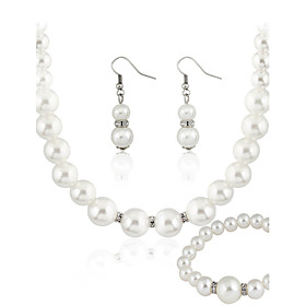 Women's Pearl Jewelry Set - Pearl Include White For Wedding Party Daily / Earrings / Necklace / Bracelets  Bangles