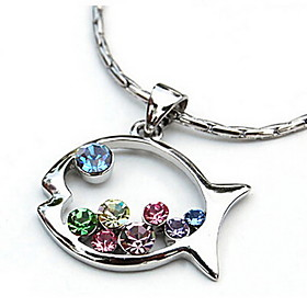 New Lovely Colored Diamond Fish-Shaped Pendant Necklace 4438647