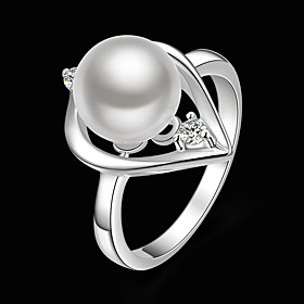 Women's Statement Ring Pearl Cubic Zirconia Silver Plated Heart Ladies Fashion Ring Jewelry White For Party One Size / Imitation Diamond