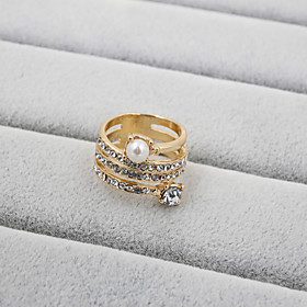 Women's Band Ring Pearl Rhinestone Imitation Diamond Ladies Fashion Ring Jewelry For Wedding Party Daily Casual Sports 7 / 8 / 9
