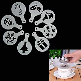 8Pcs Christmas Coffee Stencil Cappuccino  Chocolate Cookies Cakes Stencils Mold 4930633