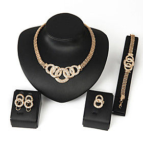 Women's Crystal Jewelry Set Statement, Ladies, Festival / Holiday Include Chain Bracelet Silver / Golden For Wedding Party Birthday Gift Daily Casual / Rings /