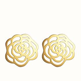 Women's Hollow Stud Earrings Earrings Cross Flower Ladies European Fashion Jewelry Silver / Golden For Party Daily Casual
