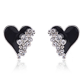 Women's Crystal Stud Earrings Crystal Gold Plated Imitation Diamond Earrings Heart Love Ladies Fashion Jewelry White / Black For Party Daily Casual