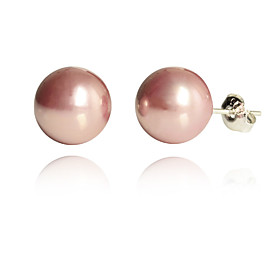 Women's Pearl Stud Earrings - Pearl, Imitation Pearl, Silver Plated Fashion, Cute White / Purple / Pink For Party Daily Casual / Shell / Pink Pearl / Gold Pear