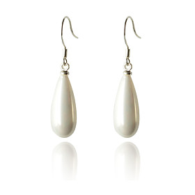 Women's Pearl Drop Earrings Pearl Silver Plated Earrings Drop Ladies Fashion Jewelry White For Party Daily Casual