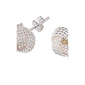 Women's Stud Earrings Silver Plated Earrings Ladies Elegant Bridal Jewelry Silver For Wedding Party Daily