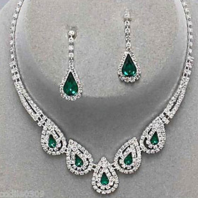 Women's Crystal Jewelry Set - Cubic Zirconia, Imitation Diamond Drop Party, Elegant, Bridal Include Drop Earrings Pendant Necklace Emerald / Sapphire / Light O