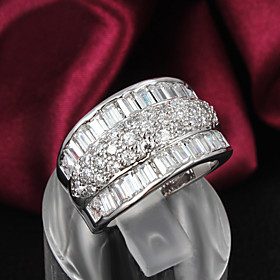 Women's Band Ring - Sterling Silver, Zircon, Rhinestone 6 / 7 / 8 Silver For Wedding Party Daily / Silver Plated / Silver Plated